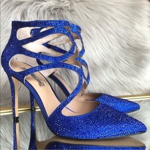 Sparkly Crystal Blue Heels